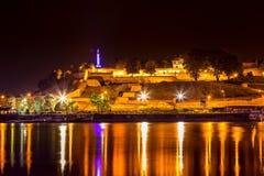 Fortaleza de Belgrado Kalemegdan na noite 2 Fotografia de Stock