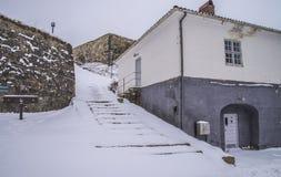 Fortaleza de Fredriksten, debajo de la batería del dragón (escena del invierno) Foto de archivo libre de regalías