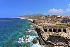 Fortaleza de Methoni, Peloponnese, Messenia, Grécia Fotos de Stock Royalty Free