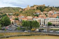 Fortaleza de Narikala del panorama de Tbilisi Imagen de archivo