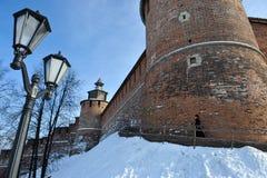 Fortaleza de Nizhny Novgorod en el invierno Imagen de archivo libre de regalías