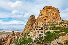 Fortaleza de piedra natural en Uchisar Foto de archivo libre de regalías