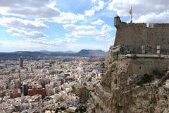 Fortaleza de Santa Barbara en Alicante imagenes de archivo