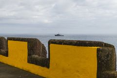 Fortaleza de Sao Tiago in Funchal. Defencive wall , Fortaleza de Sao Tiago in Funchal  , Madeira Island in Portugal. Europe. View on the ocean and schip Royalty Free Stock Images