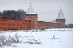 Fortaleza de Smolensk en invierno Imágenes de archivo libres de regalías