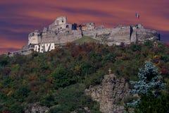 Fortaleza del Deva en oscuridad Imagen de archivo