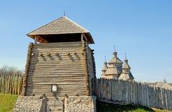 Fortaleza del Kazak, Khortitsa, Zaporizhzhya, Ucrania Foto de archivo
