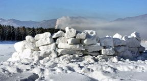 Fortaleza dos blocos da neve para o jogo Fotos de Stock Royalty Free