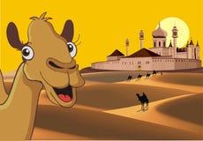 Fortaleza en el desierto - el paisaje africano stock de ilustración