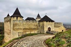 Fortaleza en Khotyn Ucrania Imágenes de archivo libres de regalías