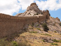 Fortaleza Genoese en Sudak (Ucrania) Imágenes de archivo libres de regalías
