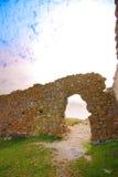 Fortaleza interior de Enisala de las ruinas fotografía de archivo