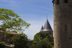 Fortaleza medieval de Carcasona, Francia fotos de archivo