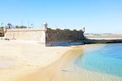 Fortaleza medieval a Dinamarca Ponta a Dinamarca Bandeira em Lagos Portugal Fotografia de Stock