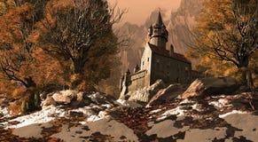 Fortaleza medieval do castelo nas montanhas ilustração stock