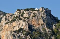 Fortaleza Monolithos, console o Rodes, Greece imagem de stock
