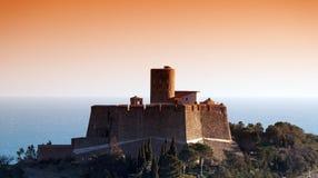 Fortaleza na costa do porto de Collioure Imagem de Stock