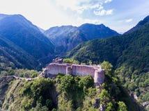 Fortaleza Poienari, Arefu, condado Romênia de Arges imagens de stock