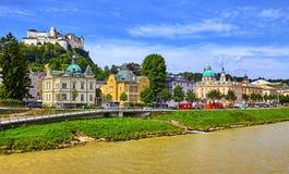 Fortaleza Salzburg en el castillo medieval de Austria imagen de archivo libre de regalías