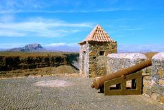 Fortaleza Sao Felipe, Sao Tiago Island, Cape Verde. Cidade Velha, fortress Sao Felipe, beautiful landscape, blue sky, Sao Tiago Island, Cape Verde. Holidays with Royalty Free Stock Photo