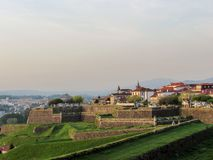 Fortaleza of Valenca with defensive walls of the fortress in the village of Valenca do Minho in Portugal stock photo