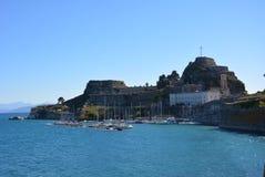 Fortaleza velha, cidade de Corfu imagens de stock