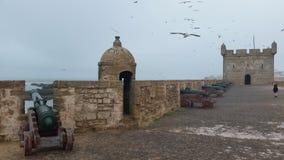 Fortaleza velha no porto da estância turística de Essaouira, Marrocos imagem de stock