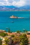 Fortaleza Venetian velha Bourtzi em Nafplio, Grécia Imagens de Stock Royalty Free