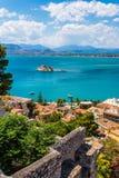 Fortaleza Venetian velha Bourtzi em Nafplio, Grécia Fotografia de Stock Royalty Free