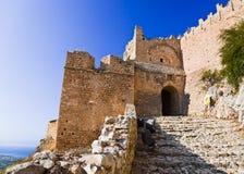 Fortaleza vieja en Corinth, Grecia Foto de archivo libre de regalías