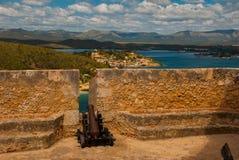 Fortaleza vieja en Cuba Fort Castillo del Moro Castillo San Pedro de la Roca del Morro, Santiago de Cuba fotos de archivo libres de regalías