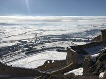 Fortaleza vieja Rupea en el invierno - Rumania Imagenes de archivo