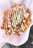Fortalezca el Nacho con quesos, salsa, guacamole Imagen de archivo libre de regalías