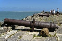 Fortapelsin, kanoner, hav och turister, Brasilien Royaltyfri Foto