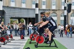 Fortbildungsmaßnahmen während des Autos geben Sonntag in Brüssel frei Stockbilder