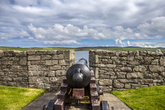 FortCharlotte kanon, Lerwick, Skottland Arkivfoto
