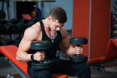 Forte atleta adatto che tiene le teste di legno pesanti Fotografie Stock