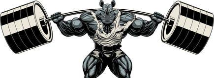 Forte atleta del rinoceronte Immagini Stock