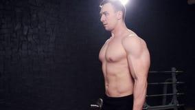 Forte culturista con gli addominali scolpiti, l'ABS perfetto, le spalle, il bicipite, il tricipite ed il petto stock footage