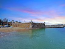 Forte da Bandeira in Lagos in Portugal at sunset Stock Image