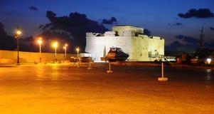 Forte de Paphos na noite Fotografia de Stock Royalty Free