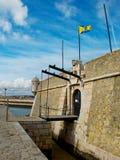 Forte de Ponta a Dinamarca Bandeira Lagos, o Algarve portugal Imagens de Stock