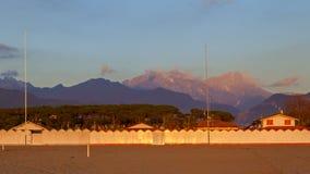 Forte dei marmi beach view on sunset Royalty Free Stock Image