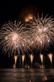 Forte dei Marmi  fireworks reflecting in the water during Intern Royalty Free Stock Photo