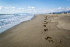 Forte dei Marmi. Italy Toscana, impronte sulla sabbia Royalty Free Stock Photography