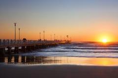 Forte dei marmi's pier with  people  admiring  sunset Stock Photos