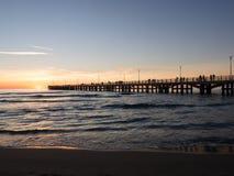 Forte dei Marmi`s pier Pleople walking while sun is setting Stock Photo