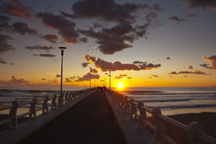 Forte dei marmi's pier at sunset with some people walking Stock Photos