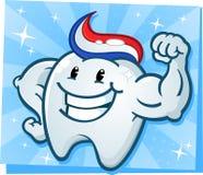 Forte dente che flette il personaggio dei cartoni animati dei muscoli Fotografia Stock Libera da Diritti