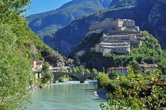 Forte di Bard, Aosta Valley. The fortress of Bard and bridge over the Dora Baltea river. Aosta Valley, Italy Stock Photos
